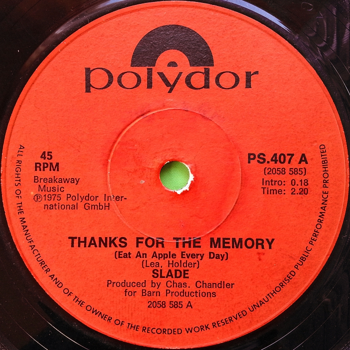 Slade Thanks For The Memory South Africa side 1
