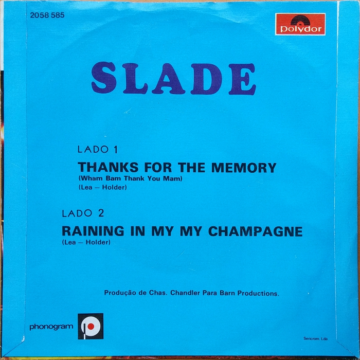 Slade Thanks For The Memory Portugal back