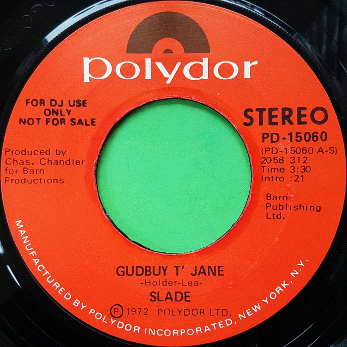 Slade Gudbuy T' Jane USA promo side 1