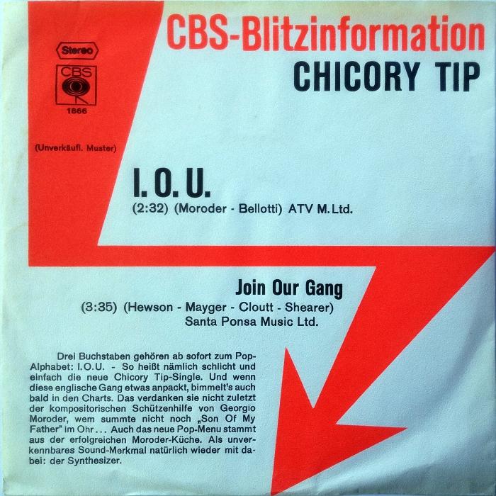 Chicory Tip I.O.U. Germany promo front