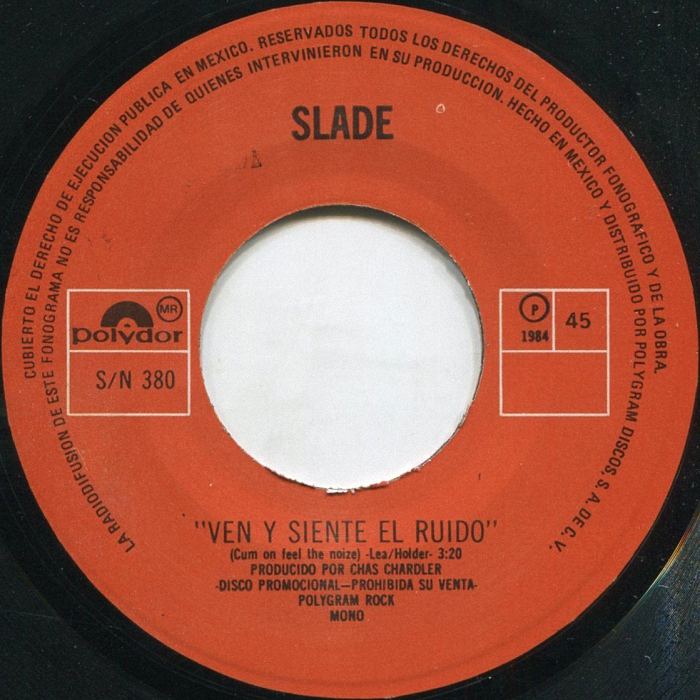Slade Cum On Feel The Noize Mexico side 2