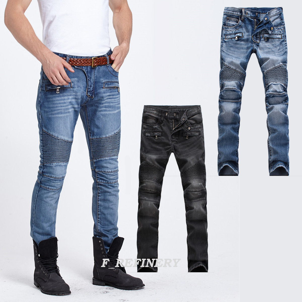 e461b1a9553 Details about Men's Distressed Biker Skinny Slim Fit France Style Jeans  Trousers 2 Colors