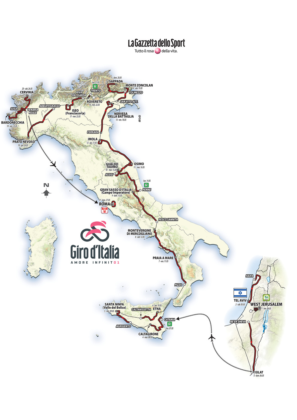 Giro d'Italia Route Map